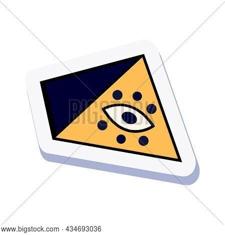 Eye Of Providence Mason Symbol Doodle Sticker On White Background Vector Illustration
