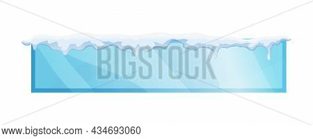 Long Rectangular Blue Frame With Snow On Top Realistic Vector Illustration