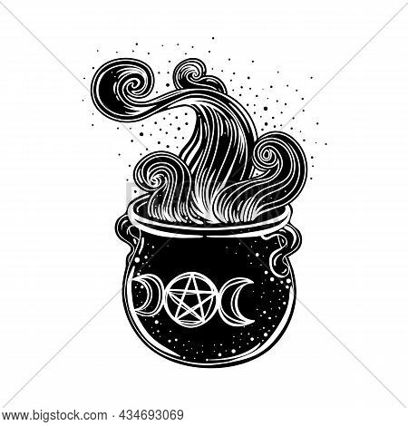 Witches Cauldron. Vector Isolated Illustration In Victorian Style. Mediumship Divination Equipment.
