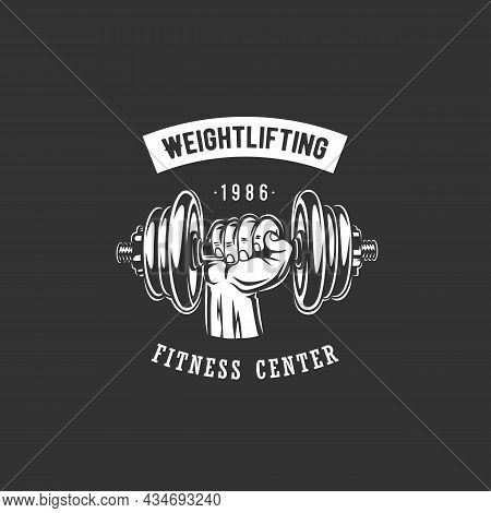Fitness And Weightlifting Logo With Dumbbell Illustration.