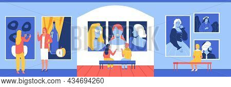 Art Gallery Design Concept With Indoor View Of Exhibition Venue With Paintings And Characters Of Vis