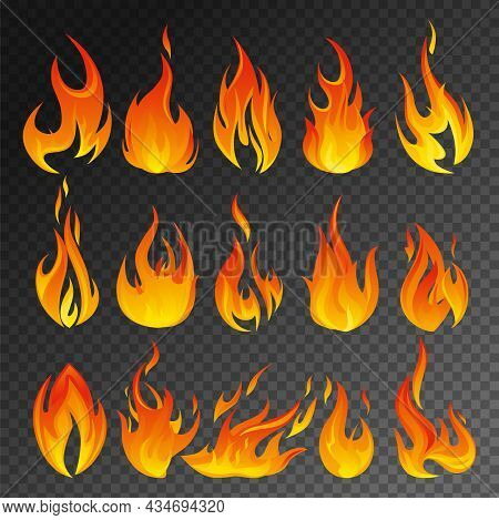 Fire Flame Transparent Icon Set Different Types Of Flames Of Different Shapes And Sizes On Transpare