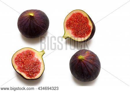 Fig Fruits Flat Lay Isolated On White Background