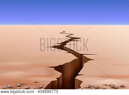 Desert Landscape Ground Cracks Realistic Composition With Outdoor Scenery Clear Sky And View Of Eart