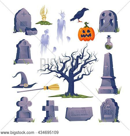Cemetery Gravestone Halloween Icon Set With Creepy Ghost Tombstones And Halloween Attributes Vector