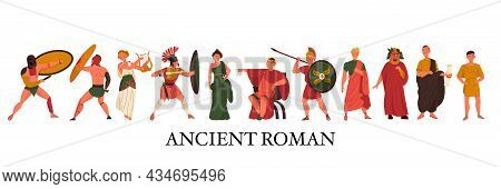 Ancient Roman People With Flat Characters Of Gladiators Women Emperor Nobles Senator Slave Army Isol