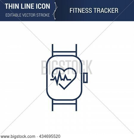 Symbol Of Fitness Tracker Thin Line Icon Of Sport And Fitness. Stroke Pictogram Graphic Suitable For