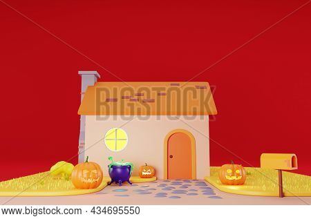 Decorated Cartoon House For Halloween,  On A Red Background. The Porch Of The House Is Decorated For