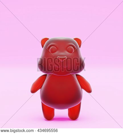 Jelly Bear, On A Pink Background. Jelly Beans, Sweets For Children. Gummy Bear, 3d Render
