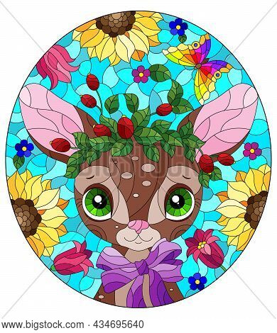 An Illustration In The Style Of A Stained Glass Window With A Cute Cartoon Fawn On A Background Of L