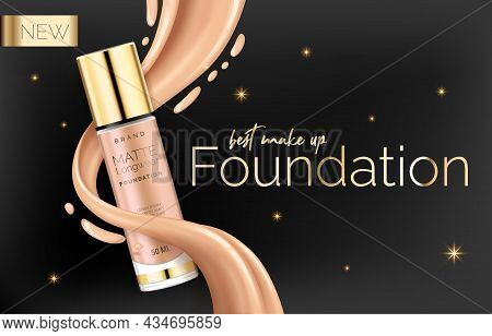 Foundation Makeup, Advertising Design Template For Catalog With Concealer, Bb Cream Packaging Tube M