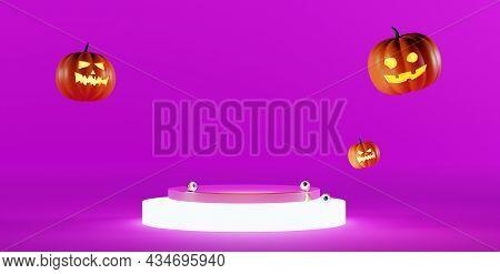 Halloween Background With Podium. Halloween Jack O Lantern Display Showcase, 3d Render. Falling Pump