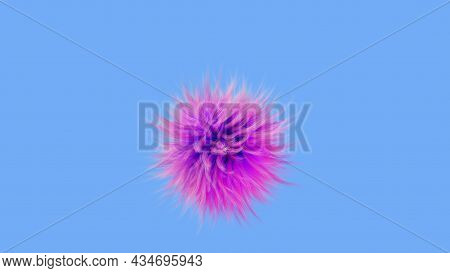 Shaggy Round Abstraction, 3d Render. Multicolored Fur Ball. Pink Fluffy Ball Isolated On A Blue Back