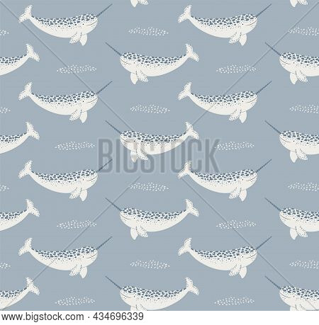 Cute Cartoon Narwhals Winter Seamless Pattern On Blue Background. Hand Drawn Vector Illustration. Ar