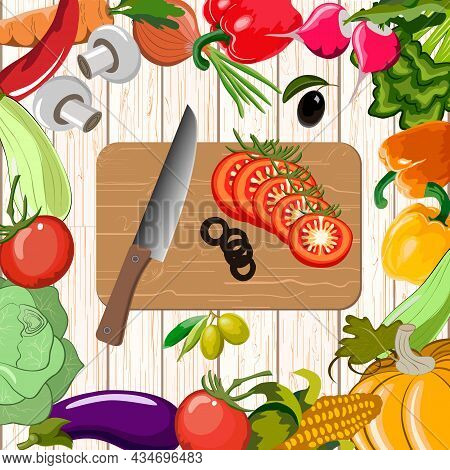Vegetables And Cutting Board On A Wooden Background.vegetables And Knife On A Cutting Board In Color