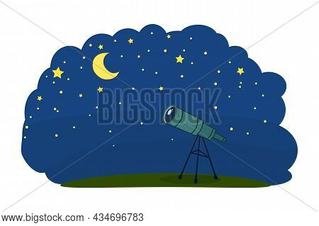 Telescope With Night Sky. Telescope For Science Discovery, Study Astronomy, Watching Stars And Plane