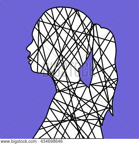 Silhouette Of A Female Head With Line Inside. Chaotic Thought Process, Confusion, Personality Disord
