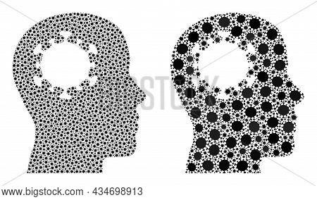 Vector Covid-2019 Mosaic Brain Infection Created For Medicare Illustrations. Mosaic Brain Infection