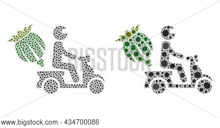 Vector Covid-2019 Mosaic Opium Motorbike Delivery Done For Pharmacy Illustrations. Mosaic Opium Moto