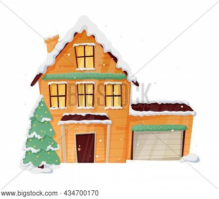 Winter Vector Isolated Christmas Illustration Of Cartoon House With Snow And Light In The Windows, C