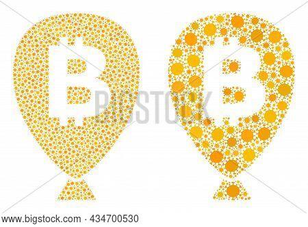 Vector Covid-2019 Mosaic Bitcoin Balloon Created For Lockdown Posters. Mosaic Bitcoin Balloon Is Bas