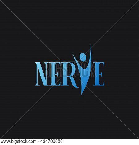 Body Logo Concept. Nerve Blue Body On Black