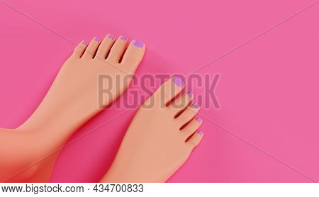 Female Feet, Top View. Women's Legs With A Pedicure, On A Pink Background, A Concept Of Foot Care, 3