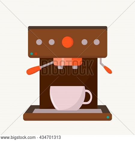 Coffee Maker With White Coffee Cup. Vector Flat Illustration Isolated On A White Background. Hand Dr
