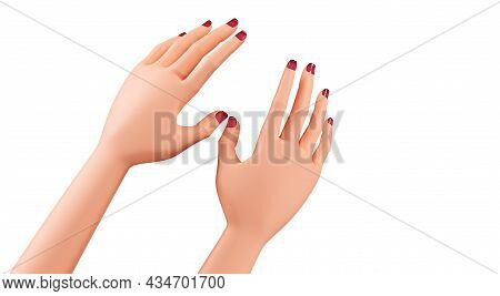 Beautiful Female Hands, Close-up. Hands With Manicure, 3d Render. Realistic Hands Of A Young Woman I