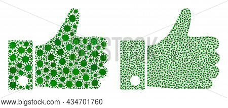 Vector Covid Mosaic Thumb Up Created For Vaccination Projects. Mosaic Thumb Up Is Based On Icon And