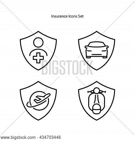 Insurance Icons Set Isolated On White Background. Insurance Icon Trendy And Modern Insurance Symbol