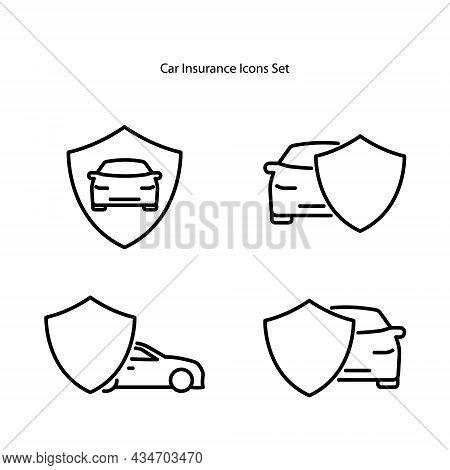 Car Insurance Icons Set Isolated On White Background. Car Insurance Icon Thin Line Outline Linear Ca