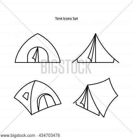 Tent Icons Set Isolated On White Background. Tent Icon Thin Line Outline Linear Tent Symbol For Logo