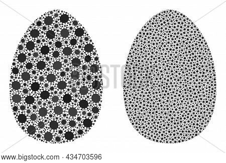 Vector Covid-2019 Collage Egg Created For Lockdown Advertisement. Mosaic Egg Is Based On Icon And It