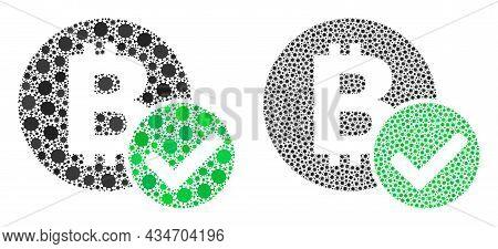 Vector Covid-2019 Mosaic Accept Bitcoin Designed For Hospital Projects. Mosaic Accept Bitcoin Is Bas