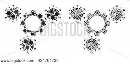 Vector Coronavirus Composition Virus Gears Done For Vaccination Applications. Mosaic Virus Gears Is