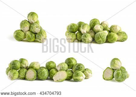 Brussels Sprouts. Set Of Fresh Brussels Sprouts In Stacks On White Isolated Background. Deep Focus S