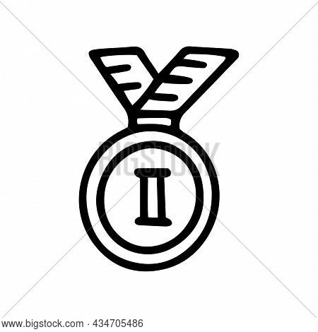 Second Place Medal Line Vector Doodle Simple Icon