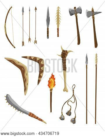 Ancient Age Stone Tools And Weapon For Hunting Or Work. Cartoon Hammer, Axe, Arrow And Spear With Ar