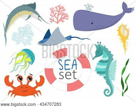 Cute Vector Marine Characters. Sword Fish, Seahorse, Crab, Stingray, Whale, Weed On A White Backgrou