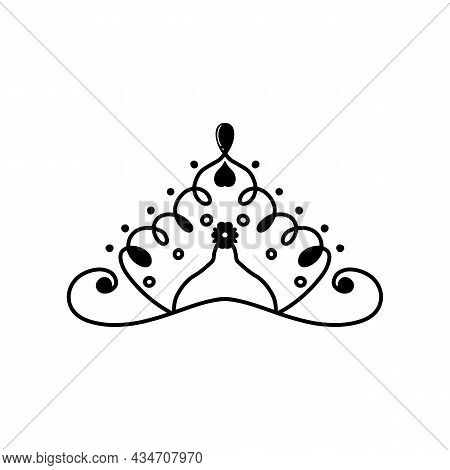 Lineart Medieval Royal Crown Queen Monarch Lord King Outline Icon Isolated Vector Illustration. Hand