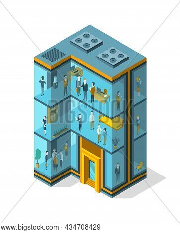 Business Building Isometric With Offices, Interior Furniture And People. Modern 3d Urban Office. Gla