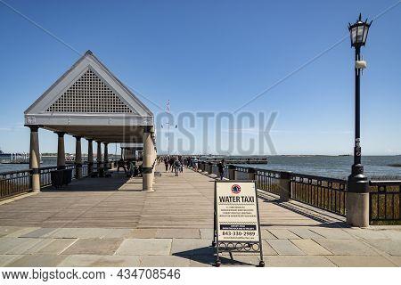 Charleston Sc - March 28, 2019: Fishing Pier At The Waterfront Park, In Charleston, South Carolina,