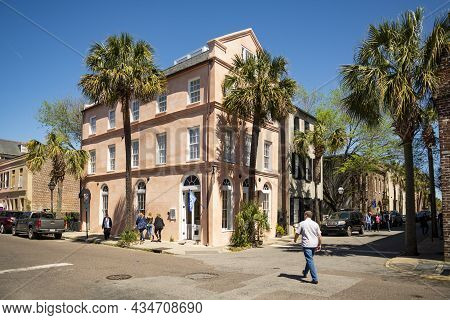 Charleston Sc - March 28, 2019: Historical Downtown Colored Buildings In Charleston, South Carolina,