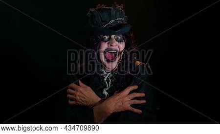 Creepy Old Woman In Costume Of Halloween Witch Screams From Stress Tension Problems Feels Horror Hop