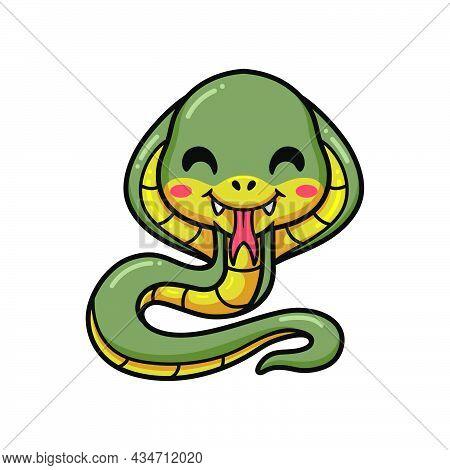 Vector Illlustration Of Cute Little Cobra Snake Cartoon