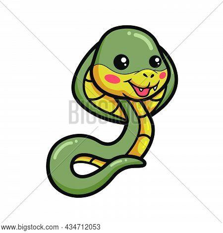 Vector Illustration Of Cute Little Cobra Snake Cartoon