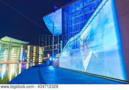 Berlin Germany - August 26 2017; Buildings On Edge Or Spree River In Government District Illuminated