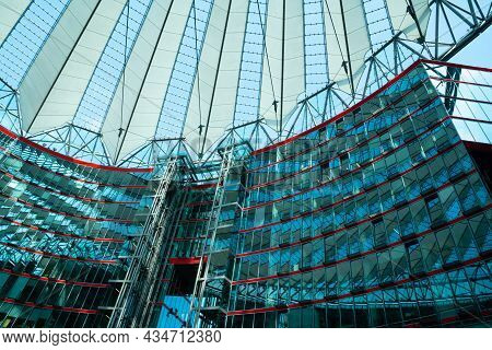 Berlin Germany - August 25 2017; Inside Magnificent Central Forum Of Sony Centre On Potsdamer Platz