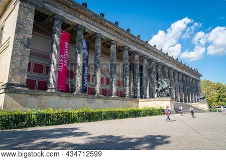 Berlin, Germany - August 28 2017; People On Path And Steps To Altes Museum Is A Listed Building On T
